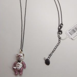 Betsey Johnson New White and Pink Bear Necklace